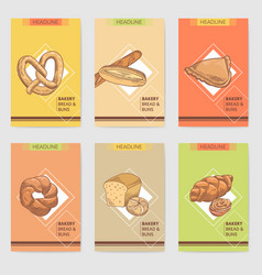 Bakery hand drawn brochure cards design with bread vector
