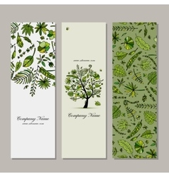 Banners set tropical tree design vector