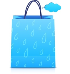 Blue shopping bag with rain pattern vector image