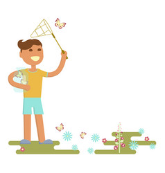 Boy is catching butterflies vector
