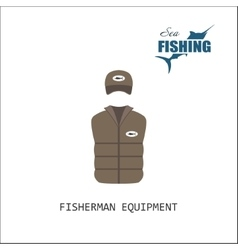 Cap and jacket Fisherman equipment vector image vector image