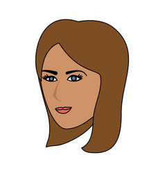 Color image cartoon side profile face woman with vector