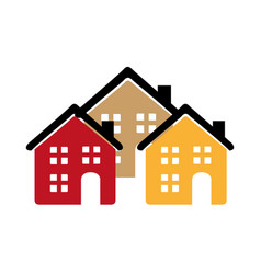 Color silhouette with group of houses vector