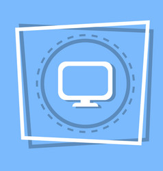 computer screen icon pc monitor web button vector image vector image