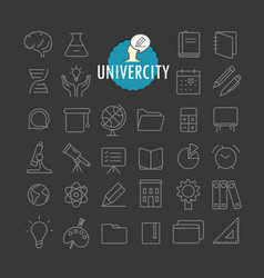different education icons collection web and vector image