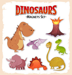 dinosaurs magnets and stickers set vector image
