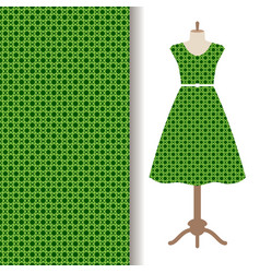 dress fabric with green arabic pattern vector image vector image