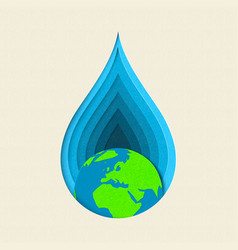 earth day paper cut water drop concept art vector image vector image