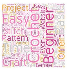 Easy crochet patterns 1 text background wordcloud vector
