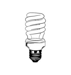 Energy saving light bulb glowing icon fluorescent vector