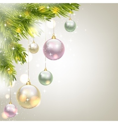 fir-tree branches and baubles vector image