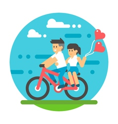 Flat design couple riding bicycle vector