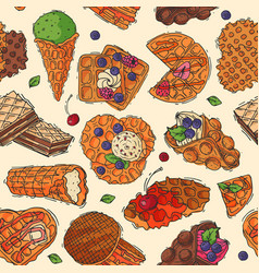hand drawn waffle cakes cookies pastry biscuit vector image