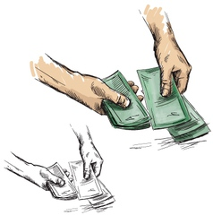 Hands counting cash money vector