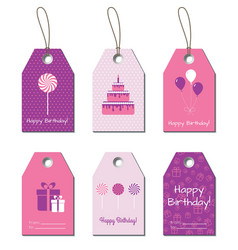 Happy birthday tags labels vector