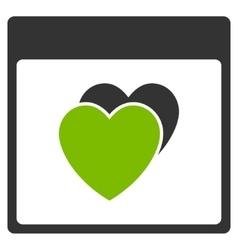 Hearts calendar page flat icon vector