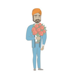 Hindu businessman holding bouquet of flowers vector