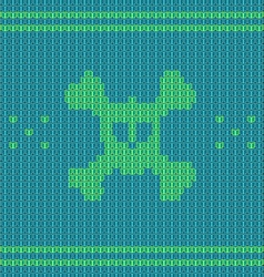 Knitted skull with bones sweater for halloween and vector image