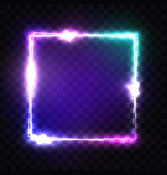 neon sign night square frame with glow and light vector image