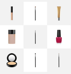realistic make-up product varnish blusher and vector image vector image