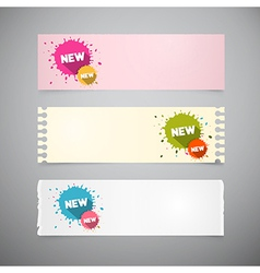 Retro Note Papers Set with Colorful Stains vector image