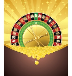 Roulette and golden coins vector image
