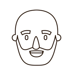 Sketch contour caricature old bald man bearded vector