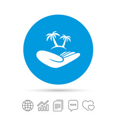 Trip insurance sign hand holds palm tree vector