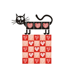 Valentines day card cat heart vector image vector image
