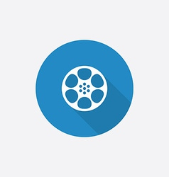 video film Flat Blue Simple Icon with long shadow vector image
