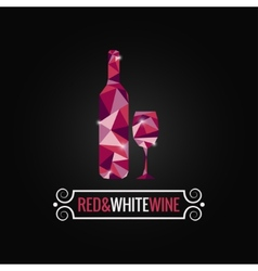 wine bottle poly design background vector image vector image