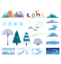 winter landscape elements set vector image