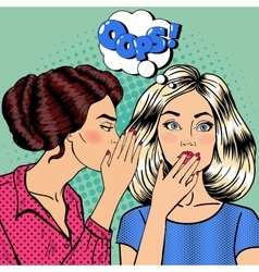 Woman whispering secret to her friend pop art vector
