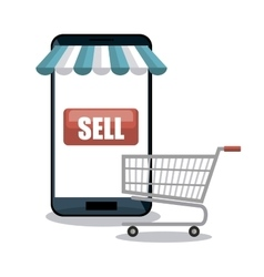 Smartphone shopping e-commerce isolated vector