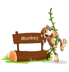 A smiling monkey beside a signage vector