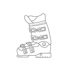 Ski boots line hand drawn icon vector