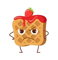 Upset waffle with jam and strawberry isolated vector