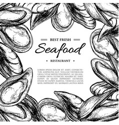 seafood hand drawn mussel and oyster framed vector image