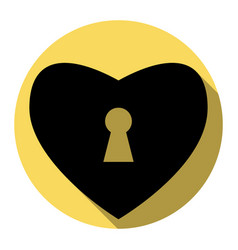 Heart woth lock sign  flat black icon with vector