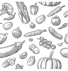 seamless pattern vegetables cucumbers garlic vector image