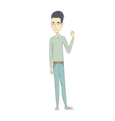Young asian man showing ok sign vector