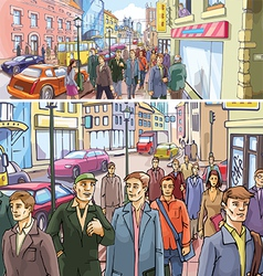 Street crowd vector