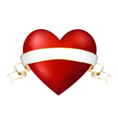 Red heart with a ribbon vector