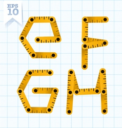 Measuring folding ruler flat abc vector image