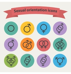 Sexual orientation black web icons vector