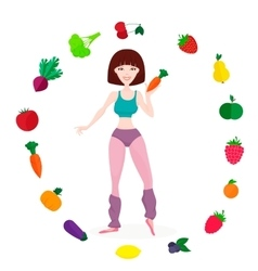 Slim athletic girl fresh vegetables and fruits vector
