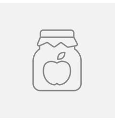 Apple jam jar line icon vector image