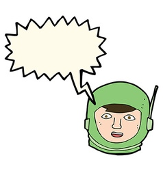 Cartoon astronaut head with speech bubble vector