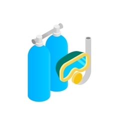 Mask snorkel and scuba isometric 3d icon vector