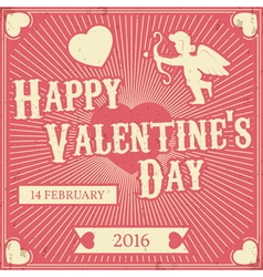 Typographic valentines day retro background vintag vector